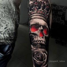 Discover recipes, home ideas, style inspiration and other ideas to try. Skull Rose Tattoos, Skull Girl Tattoo, Skull Sleeve Tattoos, Half Sleeve Tattoos For Guys, Skull Tattoo Design, Best Sleeve Tattoos, Tattoo Sleeve Designs, Dope Tattoos, Badass Tattoos