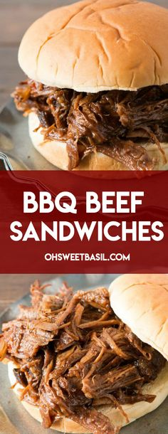 Delicious slow cooker BBQ Beef Sandwiches made with root beer! Bbq Roast Beef, Crockpot Shredded Beef, Slow Cooker Bbq Beef, Shredded Beef Recipes, Meat Recipes, Slow Cooker Recipes, Crockpot Recipes, Cooking Recipes, Bbq Meat