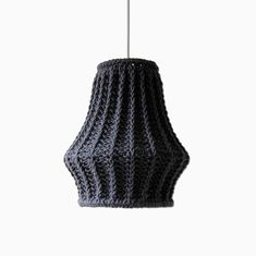 Oversize Knit Lampshade JUULA / Chunky Knit / Pendant Light  / Unique Knitted Home Decor  / Hanging Shade - Gray. €69.00, via Etsy.