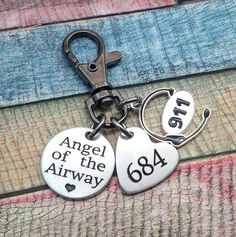 911 Dispatcher GIFT, Thin Gold Line, Angel of the Airway, Key chain Gift, 911 Operator, Dispatcher Gift, Engraved Key chain