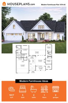 The Annual Spring Event is Here Looking for modern farmhouse ideas? Check out this modern farmhouse floorplan (plan 1074-43) and much more. Questions? Call 1-800-913-2350 today. #blog #architecture #modern #bungalow #architect #architecture #buildingdesign #country #craftsman #houseplan #homeplan #house #home #homeblog Best House Plans, Dream House Plans, Modern House Plans, Small House Plans, House Floor Plans, Modern Farmhouse Plans, Farmhouse Ideas, White Farmhouse, Building Plans