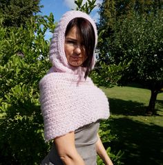 Powder Pink Hand Knitted Neck Warmer with Hood / by Imunde on Etsy
