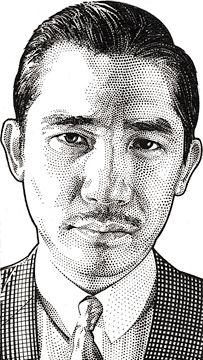 Wall Street Journal portrait (hedcut) of Tony Leung