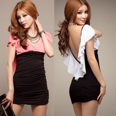 Europe and the United States sexy backless low cut dress dress nightclub bar party ktv nightclub clothing package hip dress $9.50