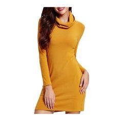 Rotita Long Sleeve Turtleneck Yellow Sweater Dress (£26) ❤ liked on Polyvore featuring dresses, yellow, sleeved dresses, long sleeve mini dress, mini sweater dress, long sleeve turtleneck and yellow sweater dress