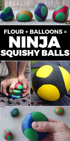 How to Make Diy; Make fun and have fun! Ninja squishy balls - How to Make Diy Projects For Kids, Diy For Kids, Craft Projects, Crafts To Do, Crafts For Kids, Arts And Crafts, Easy Crafts, Summer Crafts, Summer Fun