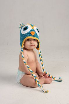 Hey, I found this really awesome Etsy listing at https://www.etsy.com/listing/114673961/baby-owl-hat-teal-and-yellow-you-pick