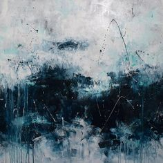 large abstract seascape painting palette knife by ElenasArtStudio