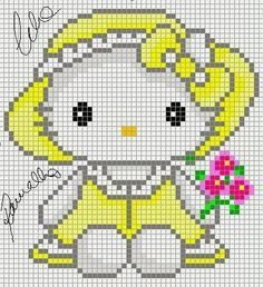 Hello Kitty with flowers perler bead pattern and like OMG! get some yourself some pawtastic adorable cat apparel! Cross Stitch Baby, Cross Stitch Charts, Cross Stitch Designs, Cross Stitch Patterns, Perler Patterns, Loom Patterns, Beading Patterns, Embroidery Patterns, Crochet Pixel