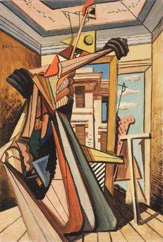 Giorgio de Chirico (Volos 1888 - Roma 1978)  La mansarda dell'architetto (L'automa) 1925
