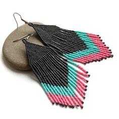 Boho dangle earrings for women Large statement earrings Beaded fringe earrings Big fashion earrings Seed bead jewelry for her Long earrings