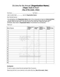 walk a thon fundraiser pledge form templates tops tips. Black Bedroom Furniture Sets. Home Design Ideas