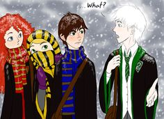 """heh, I love how Hiccup, Merida, and Rapunzel are all giving Jack this look like """"dude.....what the heck?"""""""