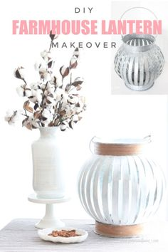 A DIY Lantern Makeover in a Farmhouse Style Starting at Home Sense I found a cute and inexpensive plain galvanized lantern for cheap. I am instantly attracted to anything galvanized because the price is usually Diy Furniture Plans, Furniture Makeover, Furniture Projects, Rustic Crafts, Rustic Decor, Diy Crafts, Modern Farmhouse Style, Farmhouse Decor, Diy Cushion
