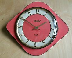 Beautiful Retro Vintage 60u0027s French Pink Salmon Kitchen Wall Clock Made By BAYARD.