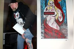 Start Gallery hosts annual homage to tattoo art. Todd Ponagai shows off his Snow White tattoo by Amanda Snyder next to Snyder's painting at Start Gallery.