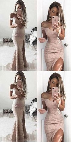 Off Shoulder Lace Mermaid Sexy Side Slit Prom Dresses, Long Prom Dresses, Evening Dresses, PD0326 #Sofiebridal #promdresses #promdress #lace #mermaid #prom2k18