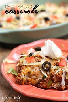 20 Minute Taco Salad Casserole on Six Sisters' Stuff