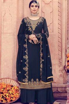 Pakistani #Dresses , Designer #Wedding #Pakistani Clothes Navy #blue Georgette #Palazzo Suits Online #UK - #Shopkund Style Palazzo, Palazzo Suit, Churidar, Style Fête, Art Marron, Silk Anarkali Suits, Costume Noir, Dress Meaning, Pakistani Dresses Online