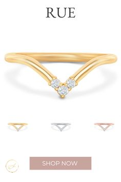 This chevron band with a trio of diamonds is the perfect compliment to an elongated fancy shaped diamond ring or low setting. Comes in Rose Gold, Yellow Gold and Platinum.