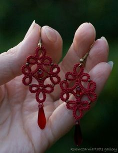 """tatting jewelry """"Victoria"""" lace earrings, mystery Jewellery Earrings gift for her lace jewelry brid Tatting Earrings, Tatting Jewelry, Lace Earrings, Lace Jewelry, Tatting Lace, Crochet Earrings, Simple Earrings, Shuttle Tatting Patterns, Needle Tatting Patterns"""