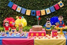 kit para locação festa Super Heróis - www.minimimofestas.com.br