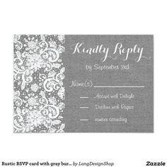Rustic RSVP card with gray burlap and lace