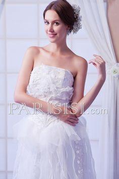 vestidos de novia Marfil Encaje Cuentas Sin tirantes Organza Sin Mangas Corto Mi Cremallera Romántico Corte A