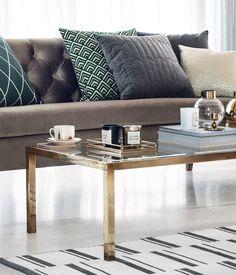 Metalltablett mit Spiegelglas   Goldfarben   Home   H&M DE