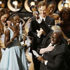 Celebration: Lupita thanked Yale in her Oscar acceptance speech, who won for her role as Patsey in Steve McQueen's Best Picture 12 Years A Slave