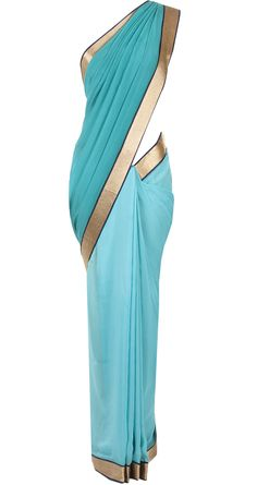 Navy blue and turquoise dual tone sari by JADE by MONICA AND KARISHMA. Shop now at perniaspopupshop.com