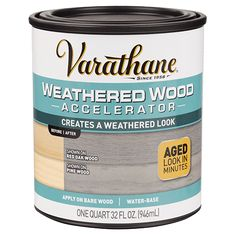 Varathane Weathered Wood Accelerator creates a weathered look on bare or untreated wood.  It replicates the aging process that happens in nature by reacting with the tannins in the wood to create a unique, one-of-a-kind aged gray look.  No need to find an old barn or old wood to get a reclaimed look.