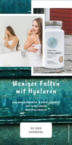 Hochdosierte Hyaluronkapseln, Hyaluron Creme & Hyaluron Serum von Cosphera. #EntfalteDich Vitamin B12, Anti Aging, Serum, Lettering, Top, Healthy Food, Tips, Drawing Letters, Brush Lettering