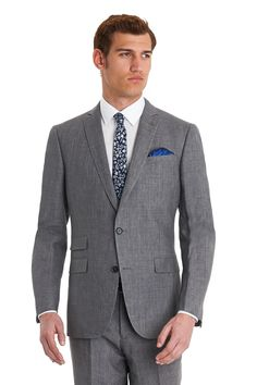 This tailored fit grey linen jacket is 100% linen. it features two outer flap pockets, a ticket pocket, three inner pockets, a twin vent and is half lined. Available with matching trousers: 965118117. This lightweight jacket is ideal to wear to a summer wedding or for a smart casual look.