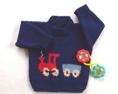 Baby boy blue train sweater - 6 to 12 months boy - Hand knit train baby sweater - Train motif sweater - Infant handknitted train , Baby Boy Sweater, Knitted Baby Cardigan, Knitted Baby Blankets, Hand Knitted Sweaters, Knitting For Kids, Baby Knitting, Pull Crochet, Pull Bebe, Baby Boys
