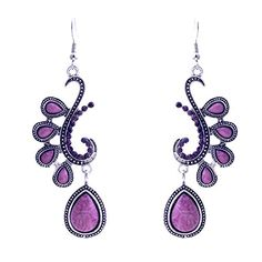 Lureme Vintage Peacock Drop Earrings with Lavender Purple Teardrop Shaped Beads and Burgundy Red Rhinestones for Women and Teen Girls - Jewelry For Her