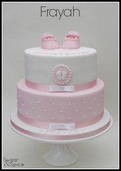 Todays christening cake lemon madeira with lemon curd buttercream and white choc ganache Torta Baby Shower, Pink Christening Cake, Choc Ganache, Chocolate Fondant, Modeling Chocolate, Bolo Fack, Fondant Baby, Fondant Rose, Fondant Flowers