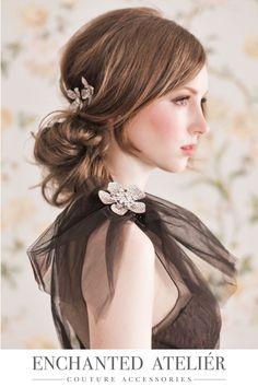 {Floral Frenzy Swarovki Pins/Brooches}  -Credits: Emme Wynn-Photography, Liz Wegrzyn-MUA, Aleksandra Ulanowicz-Hair, Rachel MacKay-Model, Headpiece by Enchanted Atelier-