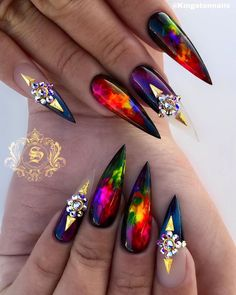 we compare more than 200 gorgeous coffin nails with stiletto nails.In the spark of the contrastive collision of these gifted nail creations, Creative Nail Designs, Beautiful Nail Designs, Creative Nails, Nail Art Designs, Nails Design, Glam Nails, 3d Nails, Love Nails, Acrylic Nails
