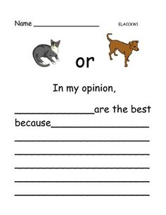 Opinion Writing: Pets - 6 pages 1st Grade Writing, Writing Promps, First Grade Reading, Persuasive Writing, Kindergarten Writing, Writing Lessons, Teaching Writing, Literacy, Writing Worksheets