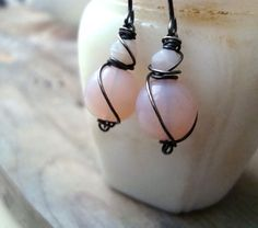 Pastel Pink Earrings Vintage Glass Oxidized by FuchsiaBloomStudio, $28.00