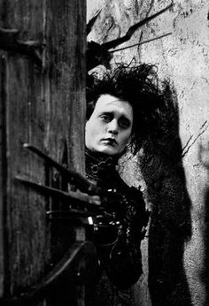 """This poster features an image of Johnny Depp as Edward Scissorhands from the Tim Burton cult film """"Edward. Johnny And Winona, Johnny Depp, Scary Movies, Good Movies, Eduardo Scissorhands, Scissors Hand, Tim Burton Style, Movie Shots, About Time Movie"""