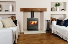 modern oak fireplace beam for stovax stove Fireplace Beam, Inglenook Fireplace, Fireplaces, Electric Fireplace, Fireplace Design, Cosy Lounge, Log Burner, New Living Room, Living Spaces