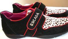 Rare ESCADA divine PONYSKIN leather RHINESTONE animal print 9 Comfort flat walking sports shoes sneakers Red Black by MushkaVintage3