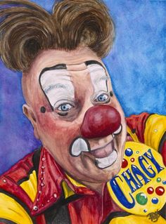 Watercolor Clown #21 Eugenio Adorno Espinell AKA Chagy The Clown 9 X 12 on Canson 140 lb Cold Press paper Original Sold Prints available