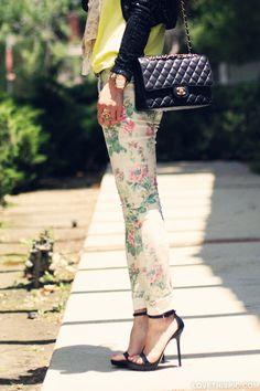 a540af561 Chanel Purse fashion flowers heels chanel printed pants New Handbags,  Chanel Handbags, Louis Vuitton
