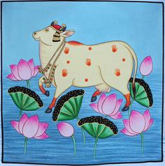 Traditional Wall Decor, Traditional Art, Traditional Paintings, Cow Painting, Fabric Painting, Painting Patterns, Pichwai Paintings, Indian Paintings, Madhubani Painting