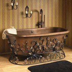 My mom would have loved this tub! (Love the iron work base!) Flora Copper Tub with Wrought Iron Stand Decor, Copper Bathtubs, Vintage Copper, Copper Tub, Copper, Tub, Home Decor, Bathtub, Beautiful Bathrooms