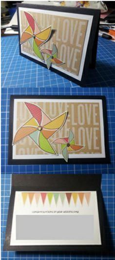 Pinewheel themed handmade Wedding card - Han-crafted (c)