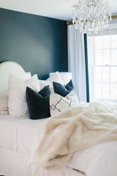 Deep teal and neutral bedroom: http://www.stylemepretty.com/living/2016/11/01/things-you-should-ban-from-your-bedroom-for-a-good-nights-sleep/ Photography: Erin McGinn - http://www.erinmcginn.com/